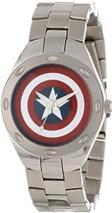 Marvel Comics Men's W000494 Captain America Stainless Steel Bracelet Watch