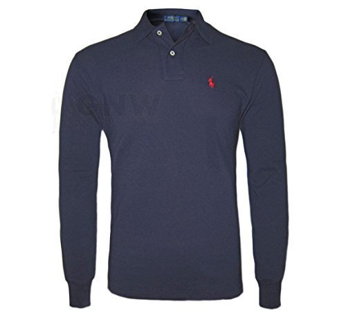 ralph-lauren-mens-long-sleeve-polo-shirt-black-navy-red-white-classic-fit-size-smlxlxxl-large-navy