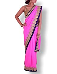 Cyber Pink Crepe Saree With Antique Gold Cutwork Border