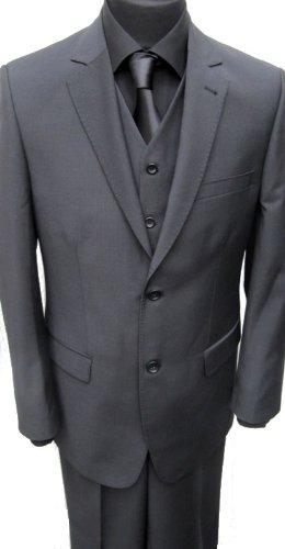 MUGA 2-Button Strip Suit + Waistcoat, Black, size 60R (EU 70)