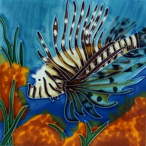 Lion Fish Lionfish Decorative Ceramic Wall Art Tile 8x8