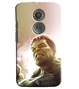 Blue Throat Man Face On Monkey Body Printed Designer Back Cover/Case For Motorola Moto X2