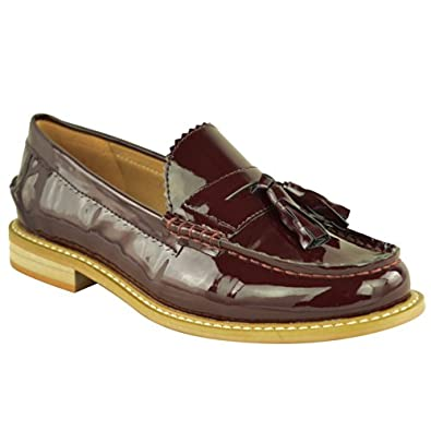 LADIES WOMENS FLAT WORK OFFICE SCHOOL TASSEL DOLLY DECK BOAT VINTAGE LOAFERS SHOES SIZE (UK 5 / EU 38 / US 7, Burgundy Patent)