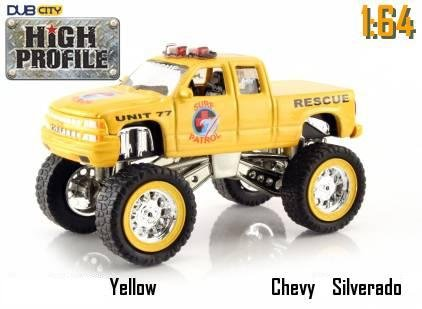 Jada Dub City High Profile Yellow Chevy Silverado Surf Patrol Rescue Truck 1:64 Scale Die Cast Car (Jada Toys High Profile 1 64 compare prices)
