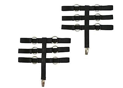 Strumpfband, Gothic, Gummi Strapsbänder mit Metall Clip, 2 Stück S/M