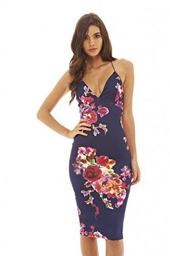 AX Paris Women's Deep V Front Floral Midi Navy Dress(Navy Rose Flower