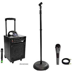 Pyle Speaker, Mic, Cable and Stand Package - PWMA930I 600 Watt VHF Wireless Portable PA Speaker System/Echo W/Ipod Dock - PDMIK2 Professional Moving Coil Dynamic Handheld Microphone - PMKS5 Compact Base Black Microphone Stand - PPMCL30 30ft. Symmetric Microphone Cable XLR Female to XLR Male