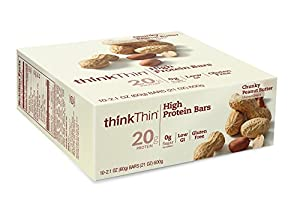 thinkThin High Protein Bars, Chunky Peanut Butter, 2.1 Ounce (pack of 10)