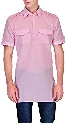 Gazi Men's Khadi Cotton Pathani Kurta (GFSK_201519_48, Pink, 48)