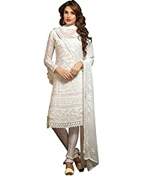 Ladli Creation Women's Georgette Semi Stitched Dress Material (LC_1472_White_Free Size)