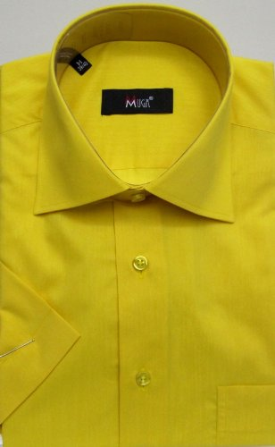 MUGA mens Shortsleeve shirts for Casual and Formal, Yellow, Size XXL