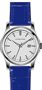 Alfred Sung AS1001 Men's watch silver dial blue genuine leather strap