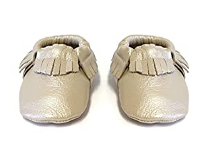 SnuggleRoo Leather Baby Moccasins Soft Sole Slip on Shoes with Stylish Fringe Handmade for Infants, Toddlers, Kids (6-12 Months (US 4 Toddler), Platinum)