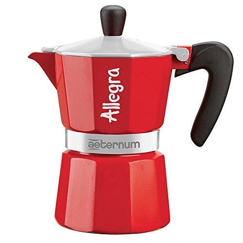 Bialetti Allegra Caffettiera Espresso con 3 Tazze, Alluminio, Rosso, 15 x 8 x 16 cm