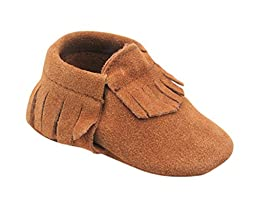Unique Baby Unisex Quality Suede Moccasins(M 5 Inches) Brown
