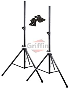 175lb Load Pair PA Speaker Monitor Stage Stands on Tripod Pro-Audio Mount DJ 2 Griffin