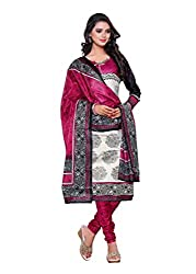 Salwar Style Design Women's Cotton Unstitched Salwar Suit Dress Material (SS1039_Free Size_Pink & White)