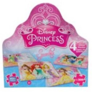 Disney Princess 4 Glitter 200 Piece Puzzles
