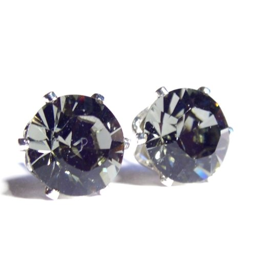 Men's Stainless Steel Black Diamond (clear charcoal grey) Swarovski Crystal Stud Earrings. Gift Box. Beautiful jewellery for very Special People.
