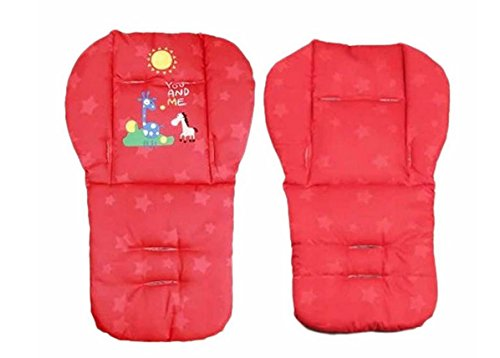 Red Color Baby Stroller Mat Cotton Cartoon Animal Printed Chair Seat Cushion Pad Soft Cushion Car Seat Thick Padding 0-36 Months (Combi Car Seat Canopy compare prices)