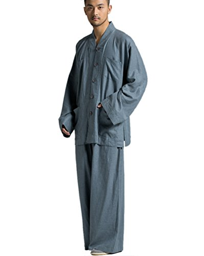 Katuo Gray Ramie Cotton Buddhist Monk Casual Suit Plus Size V-neck