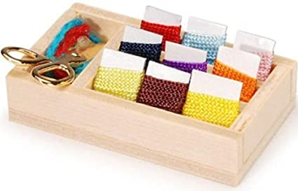 Darice Timeless MinisTM miniatures Miniature Knitting Set.Display Box with Multi Colors of Yarn & Scissors- 2 inches long. Place this set in any doll house room, or use as a decoration in a Shadow Box to add a realistic touch! by Darice