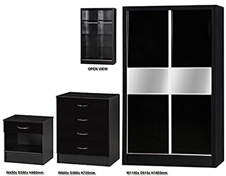 Alpha Bedroom Furniture Set with Mirror Consisting of - 1 Drawer Bedside Cabinet - 4 Drawers Chest - 2 Door Sliding Wardrobe - Available in 3 Colours (Black 2 Tone)