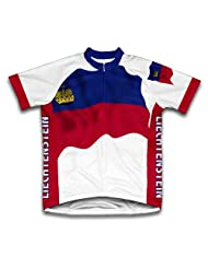 Liechtenstein Flag Short Sleeve Cycling Jersey for Women