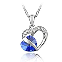 "niceeshop(TM) 925 Sterling Silver Swiss Swarovski Crystal Double Love Heart Pendant Necklace(18"" Long Chain)-Sapphire Blue by niceeshop"