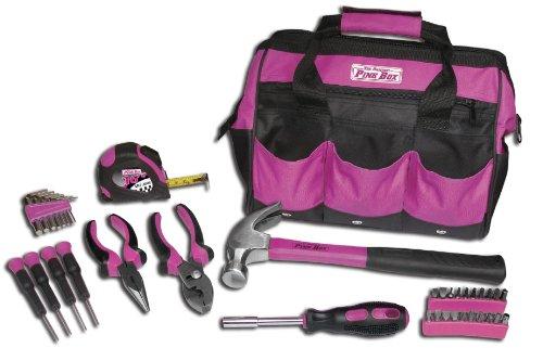 The Original Pink Box PB30TBK 12-Inch Tool Bag and 30-Piece Tool Set, Pink
