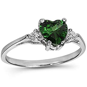 925 Sterling Silver Ring Emerald CZ-Heart Shape-Band Width:2mm (10)