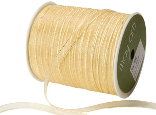 May Arts 1/4-Inch Wide Ribbon, Gold Sheer with Gold Edge