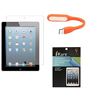"""iKare Ultra Clear Pack of 12 Anti-Glare Anti-Scratch Anti-Fingerprint Screen Protector for Samsung Galaxy Tab 3 T311 T310 8"""" Tablet + Flexible USB LED Bright Light"""