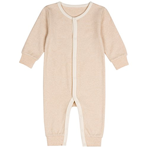 Niteo Baby Organic Cotton Snap Front Coverall, Light Brown, 9-12M