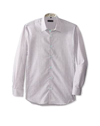 Jared Lang Men's Striped Sport Shirt with Contrast Trims