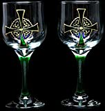 Pair of Wine Glasses in a Celtic Cross Design. Handpainted and designed in the UK by Beverley Gallagher, these significant and expressive gifts are ideal for Christmas, Valentine's Day, Mother's Day, St Patrick's Day, Easter, Father's Day, birthdays, ann