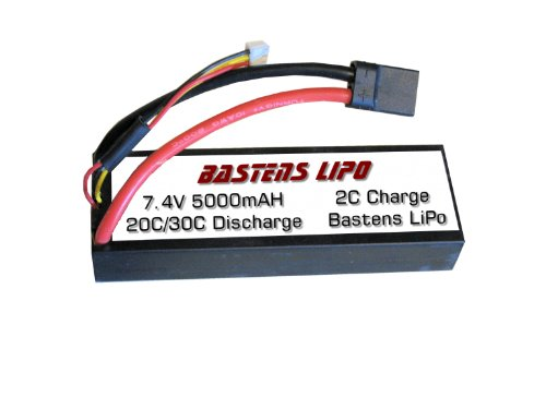 Bastens LiPo 7.4V 5000mAH upgrade battery for the Traxxas 2x4 4x4 VXL Raptor Stampede - Rustler - Bandit - Slash - Rally - XO-1 - 1/10 E-Revo Brushless - E-Maxx Brushless - a must upgrade or a high capacity alternative replacement - a factory fit! - Velinion VXL-3s ESC Brushless 3500 motor ready -
