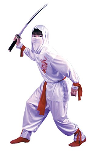 Boys White Ninja Deluxe Kids Child Fancy Dress Party Halloween Costume