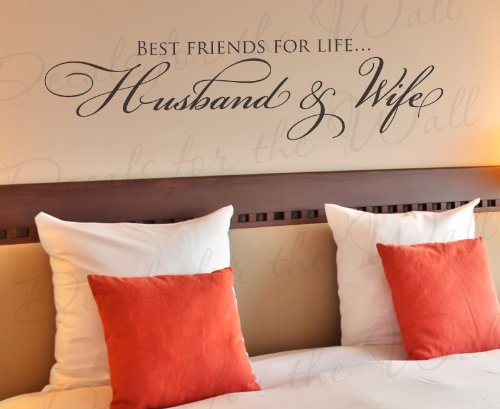 Best Friends for Life Husband and Wife – Bedroom Love Marriage Family Relationship Romantic Couple – Wall Quote Sticker Art Decoration – Vinyl Decal Mural Graphic – Lettering Decor Saying