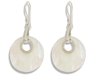 Perlmutt Ohrringe rund mit 925 Sterling Silber, ErCe, Länge 5,2 cm im Geschenketui
