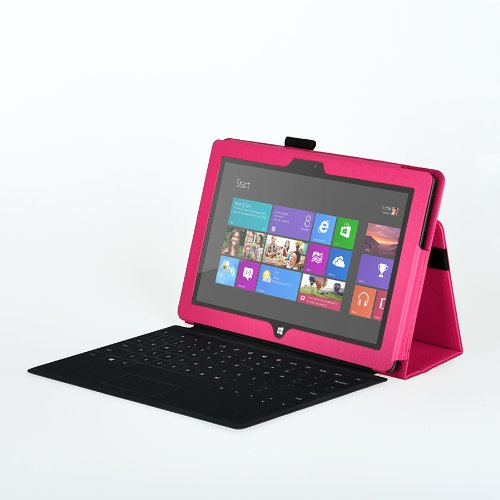 onWay Premium Folio Case Cover with Stand for Microsoft Surface RT 1st/ Surface 2,  Gift: stylus touch pen x1 Does not fit Windows 8 PRO Version Light Pink