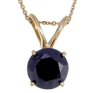 14K Yellow Gold Black Diamond Solitaire Pendant (2 CT) With 18