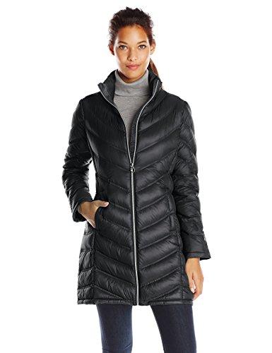 Calvin Klein Women's Chevron Packable Down Coat, Black, Medi