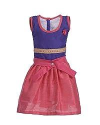 RoopRahasya Girls' Raw Silk Designer Dress Frock_VLPN120_4Y_Voilet & Pink