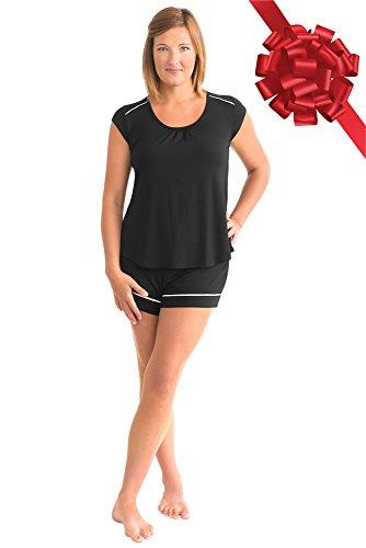 Kindred Bravely The Amelia Ultra Soft Maternity & Nursing Pajamas - Shorts Set (Black, Medium)