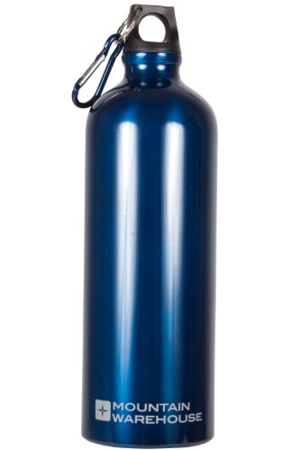 mountain-warehouse-water-bottle-1-litre-camping-metallic-aluminium-drinking-drinks-flask-karabiner-c