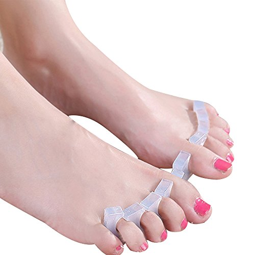Happy Hours - 1 Pair Toe Separators Straightener Kit Fits Dancer, Yoga and Athletes / Silicone Feet Pain Ease Correction Stretcher for Bunion, Overlapping Toes, Claw Toes(Transparent) (Contestant Numbers compare prices)