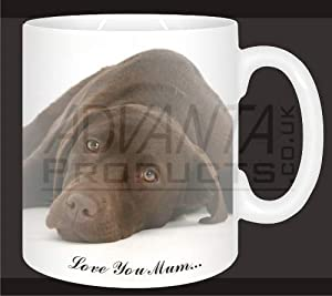 New-Chocolate Labrador Dog-Mum Sentiment Coffee/Tea Mug Mothers Day Gift