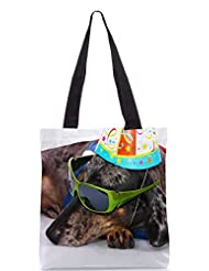 Snoogg A Dogs Life Having Fun At A Party Designer Poly Canvas Tote Bag