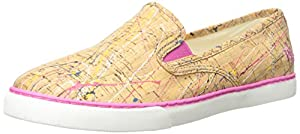 Lauren Ralph Lauren Women's Janis Fashion Sneaker, Pink/Yellow Multi Paint Splatter Cork, 8 B US